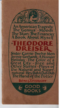 A book about Theodore Dreiser and his work by Theodore Dreiser, Edgar Lee  Masters Sherwood Anderson, H  on Bolerium Books