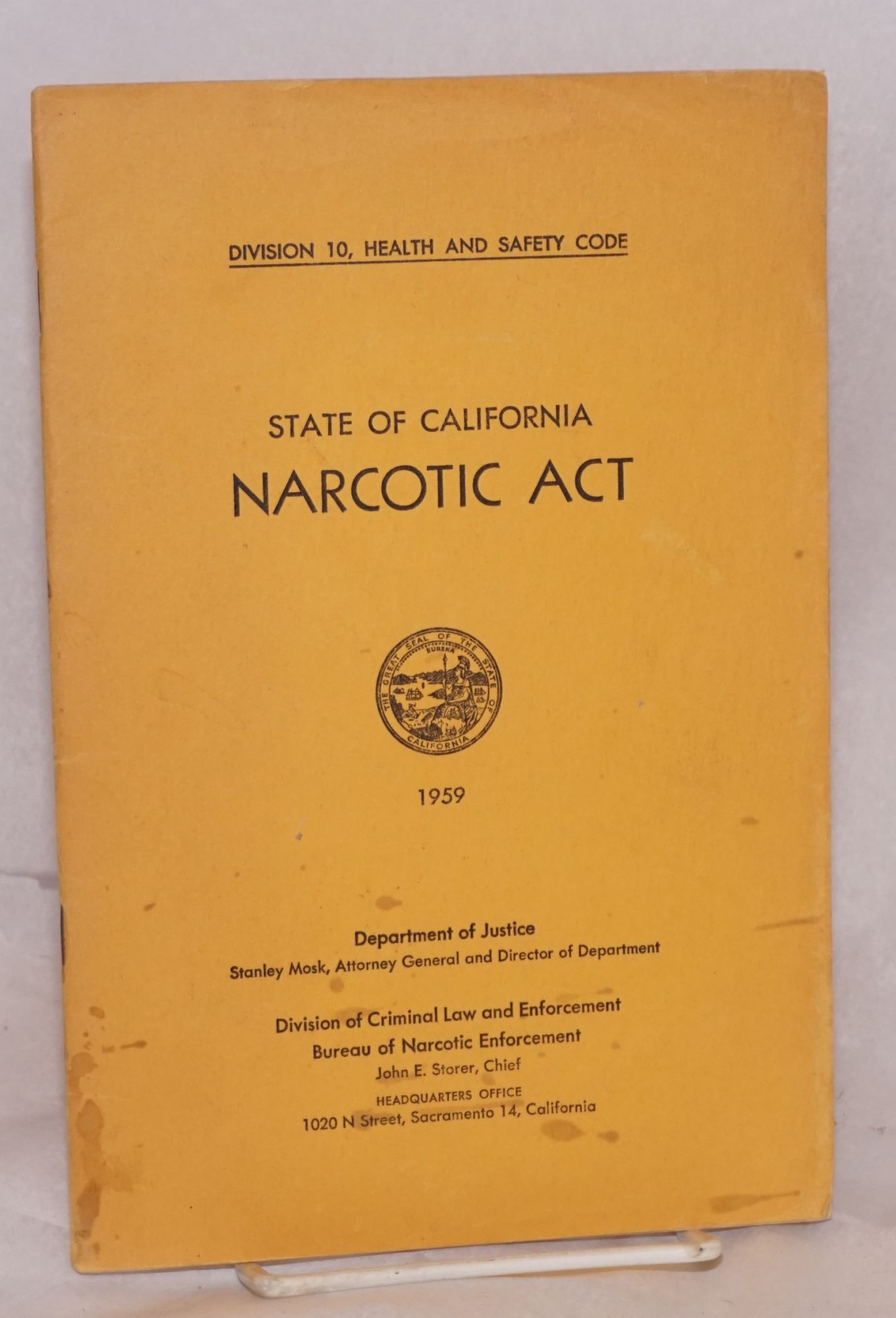 State of California narcotic act 1959