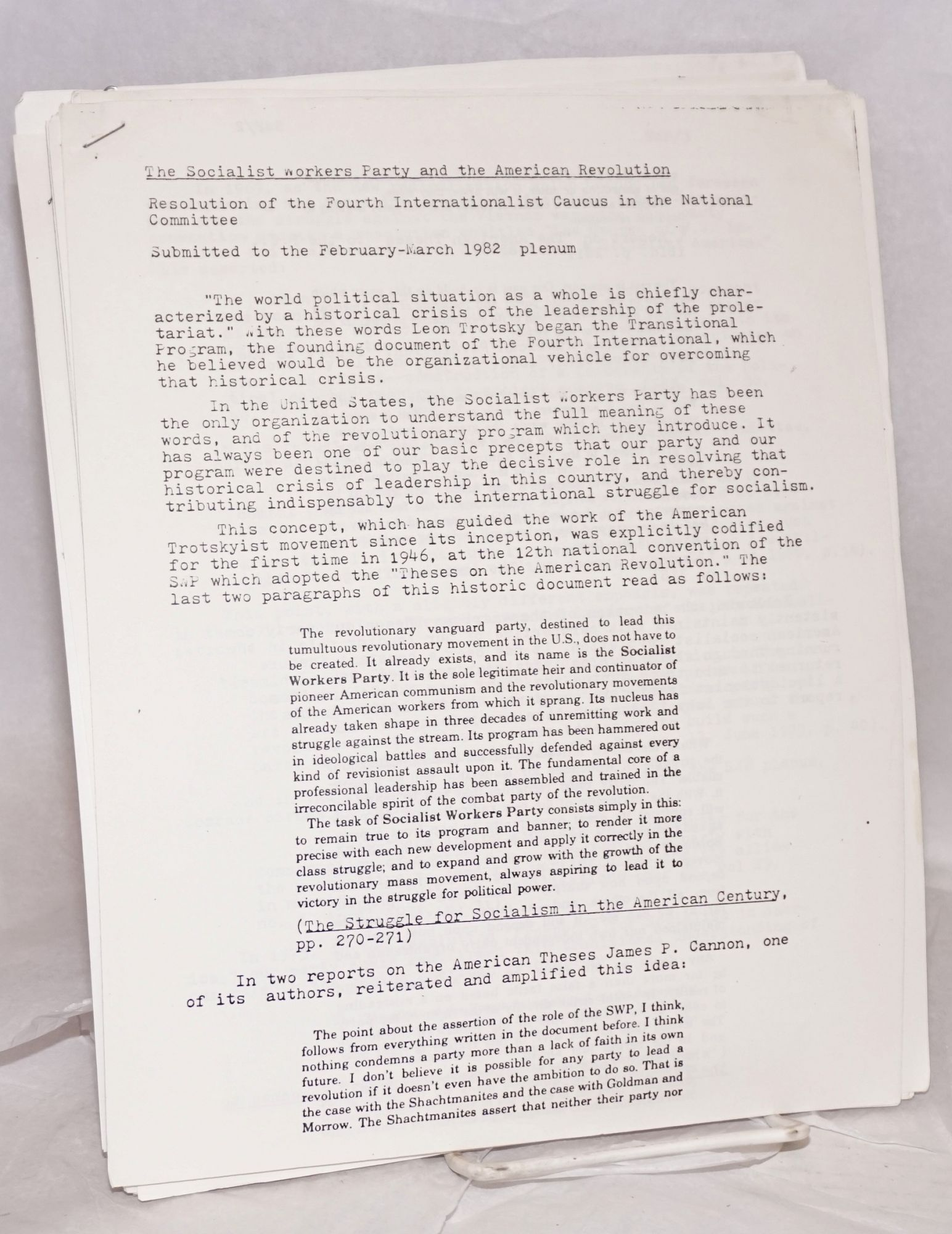 Group of 31 documents from the 1983-84 internal strife that decimated the  SWP and gave rise to new Trotskyist formations, including Socialist Action
