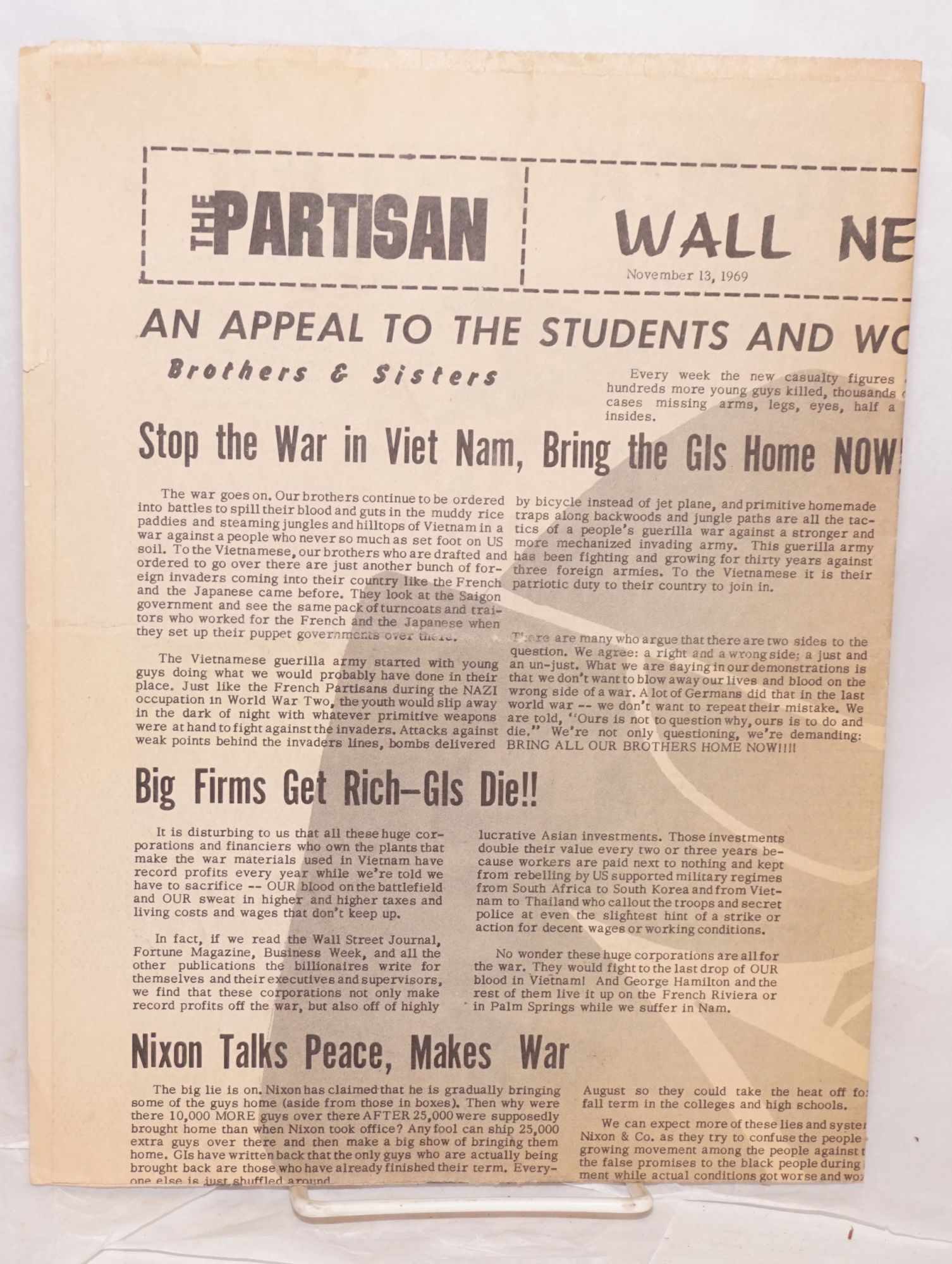 The Partisan: Wall Newspaper no  5 Nov  13, 1969 on Bolerium Books