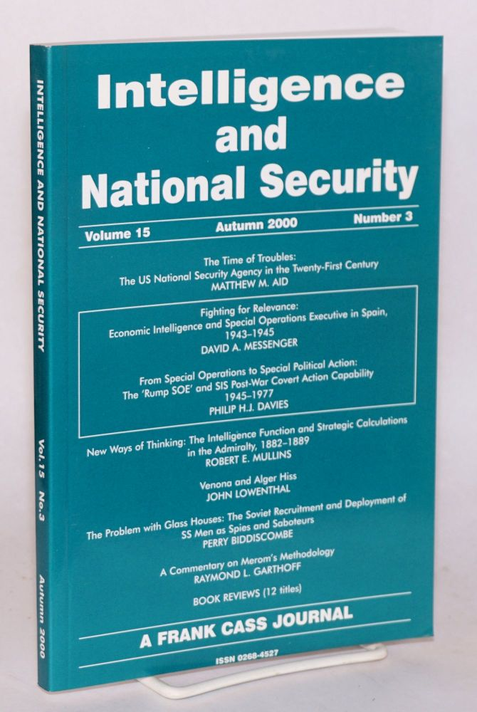 Venona and Alger Hiss [in Intelligence and national security, volume 15 Autumn 2000 number 3]. John Lowenthal.