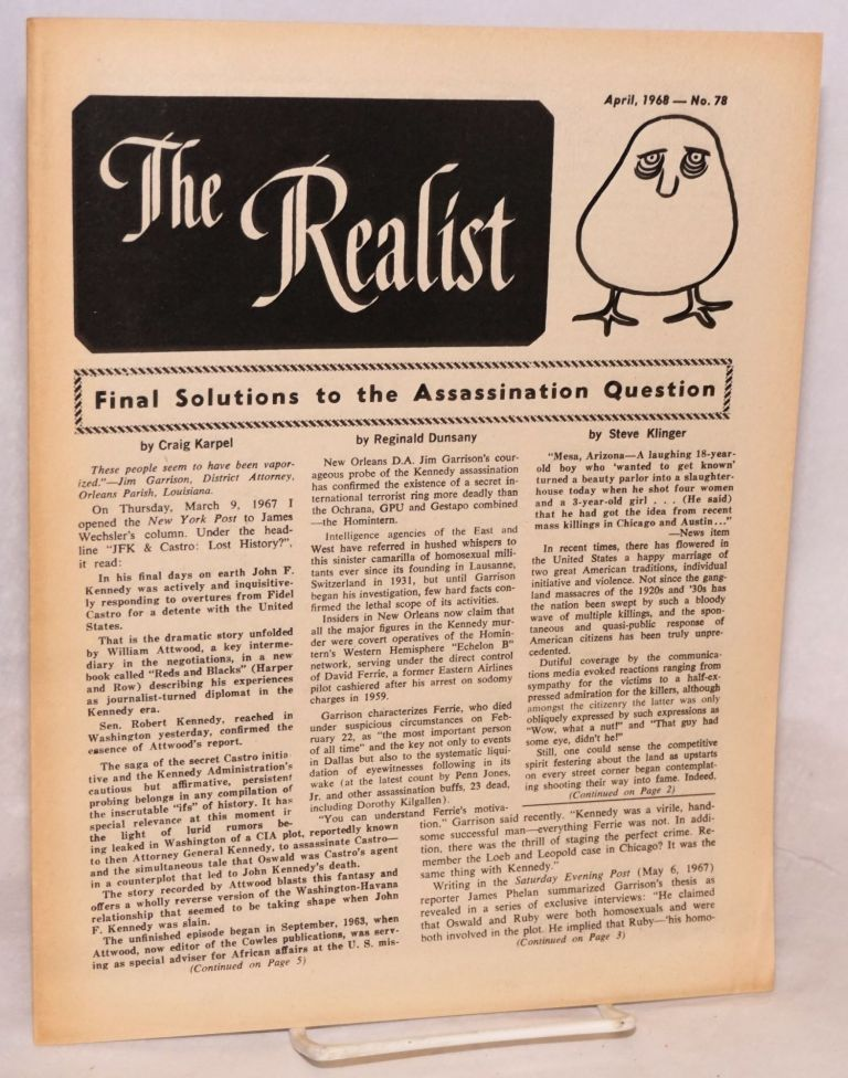 The realist [no.78]; Final solutions to the assassination question. Paul Krassner.