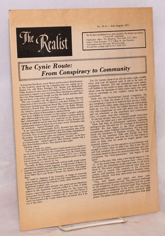 The realist [no.91-A]; The cynic route: from conspiracy to community. Paul Krassner.