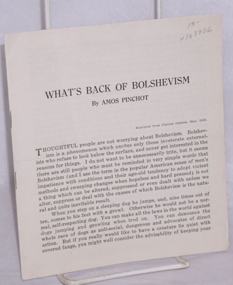 What's back of Bolshevism. Amos Pinchot.