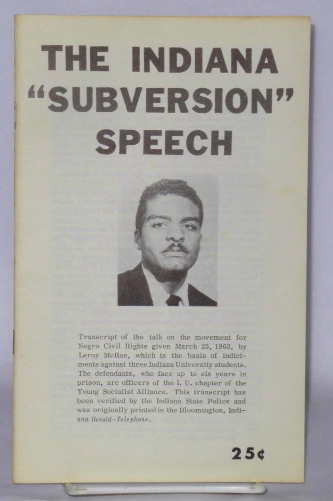 "The Indiana ""subversion"" speech. Leroy McRae."