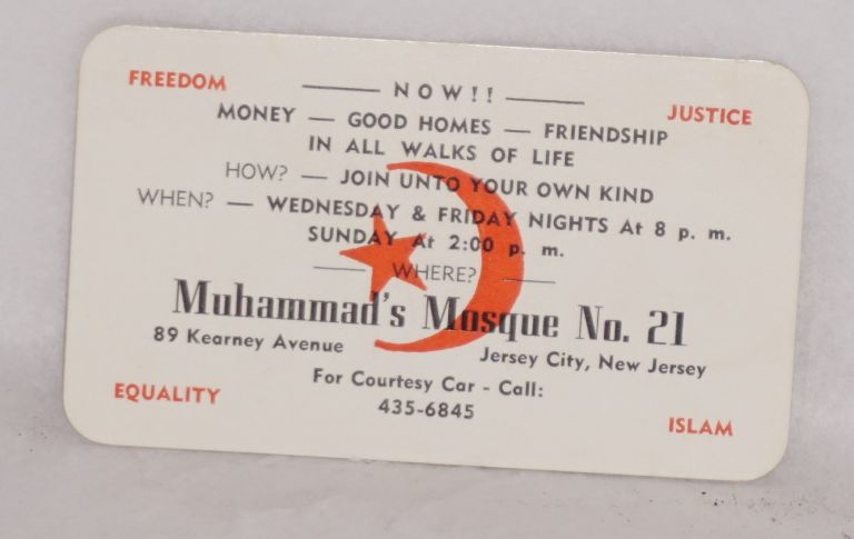 Business card. Muhammad's Mosque No. 21.