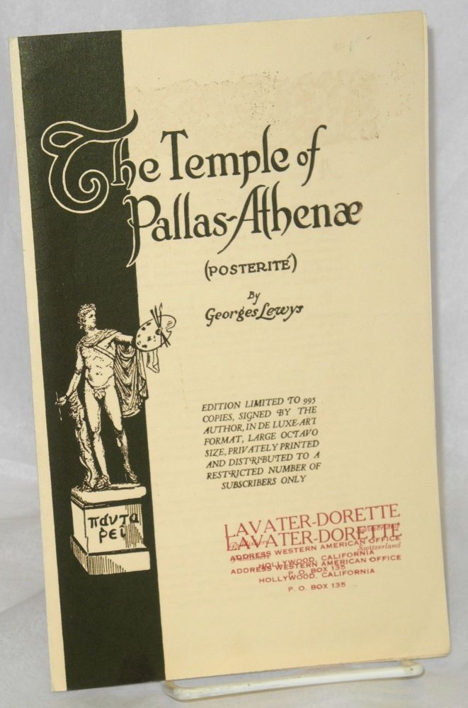 The temple of Pallas-Athena (posterité) [publicity brochure]. Georges Lewys, Gladys Adelina Lewis.