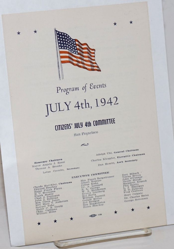 Program of events: July 4th, 1942. Citizen'sJuly 4th Committee.