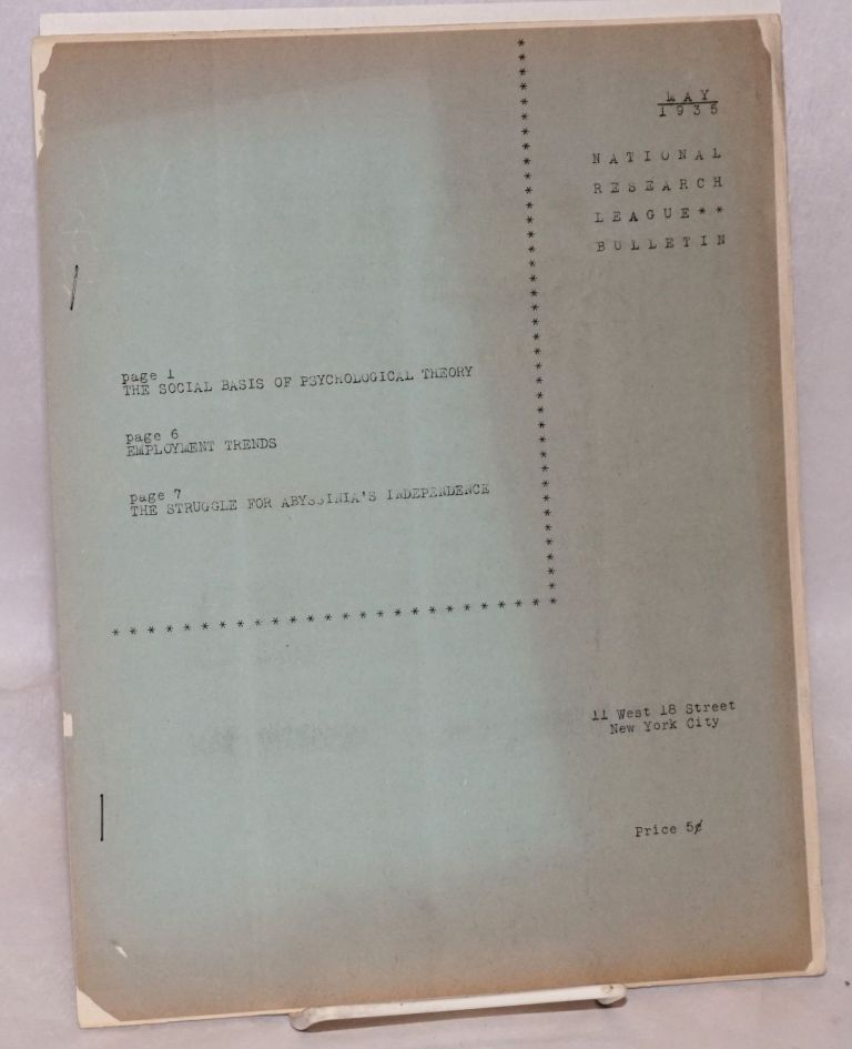 National Research League bulletin, May, 1935