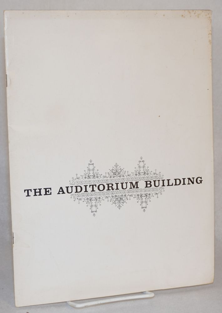 Roosevelt University announces plans for the restoration of Adler and Sullivan's Auditorium Building including the Auditorium Theatre and the former Auditorium Hotel and Office Building which now houses the University. Roosevelt University, Frank Lloyd Wright.