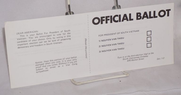 Official ballot for president of South Vietnam