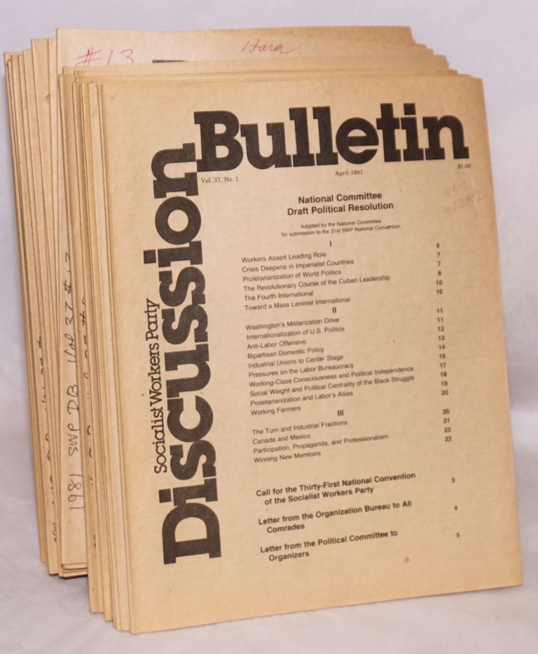 SWP discussion bulletin, vol. 37 no. 1, April, 1981 to no. 26, August, 1981. Socialist Workers Party.