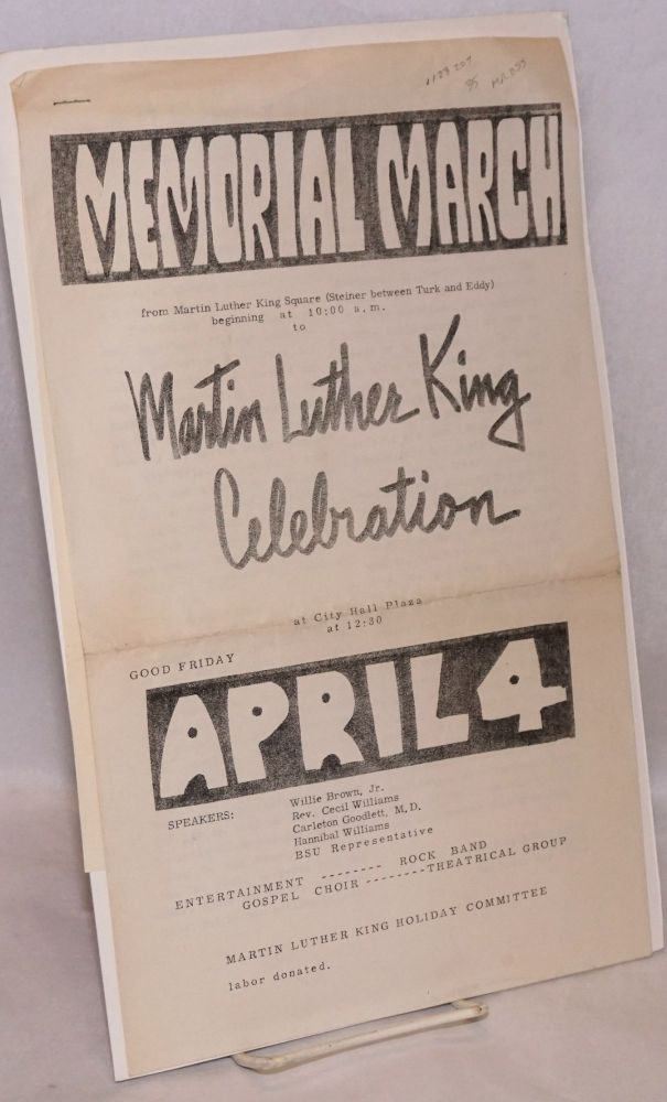Memorial march, Martin Luther King Celebration at City Hall Plaza at 12:30, Good Friday, April 4.