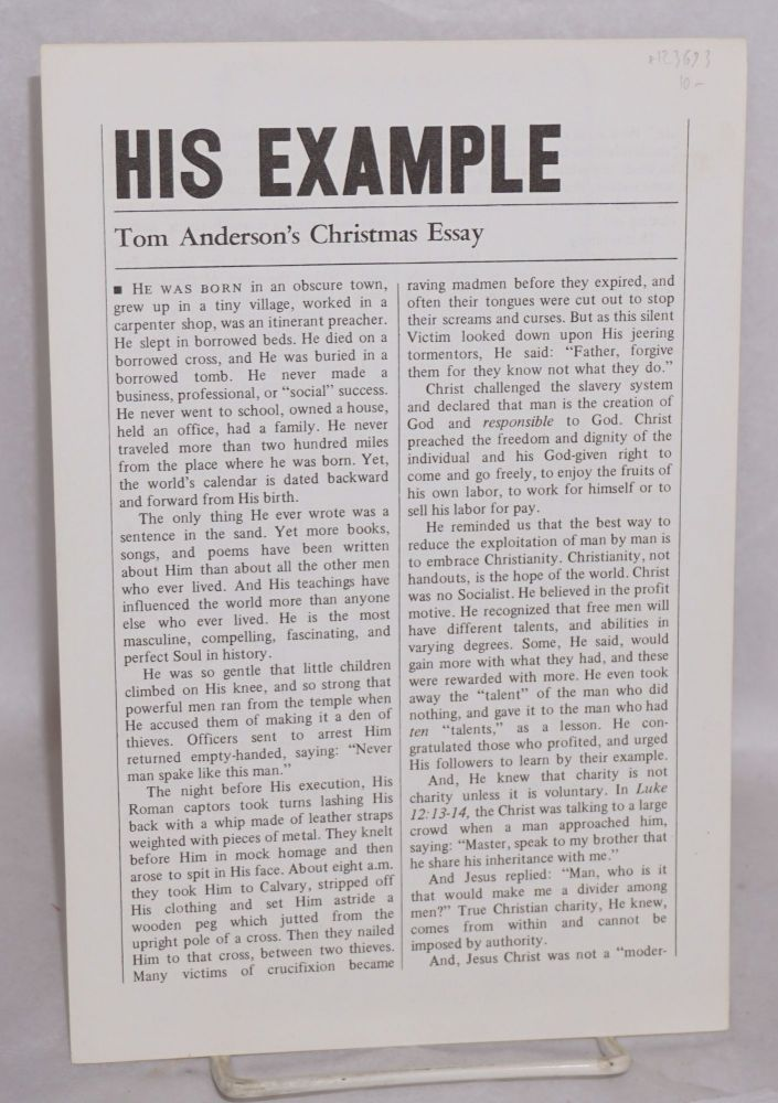 His example. Tom Anderson's Christmas essay. Tom Anderson