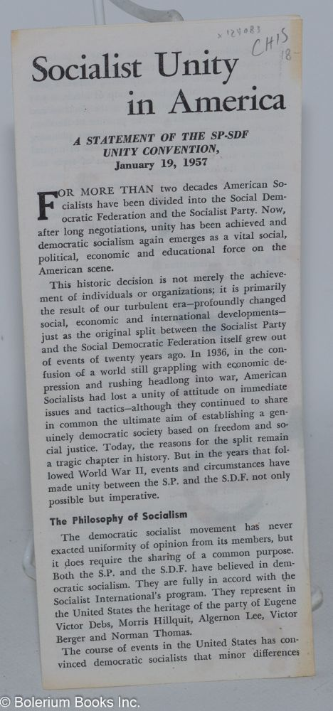 Socialist unity in America. A statement of the SP-SDF Unity Convention, January 19, 1957