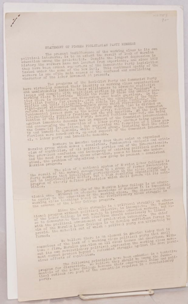 Statement of former Proletarian Party members. W. H. Camfield.