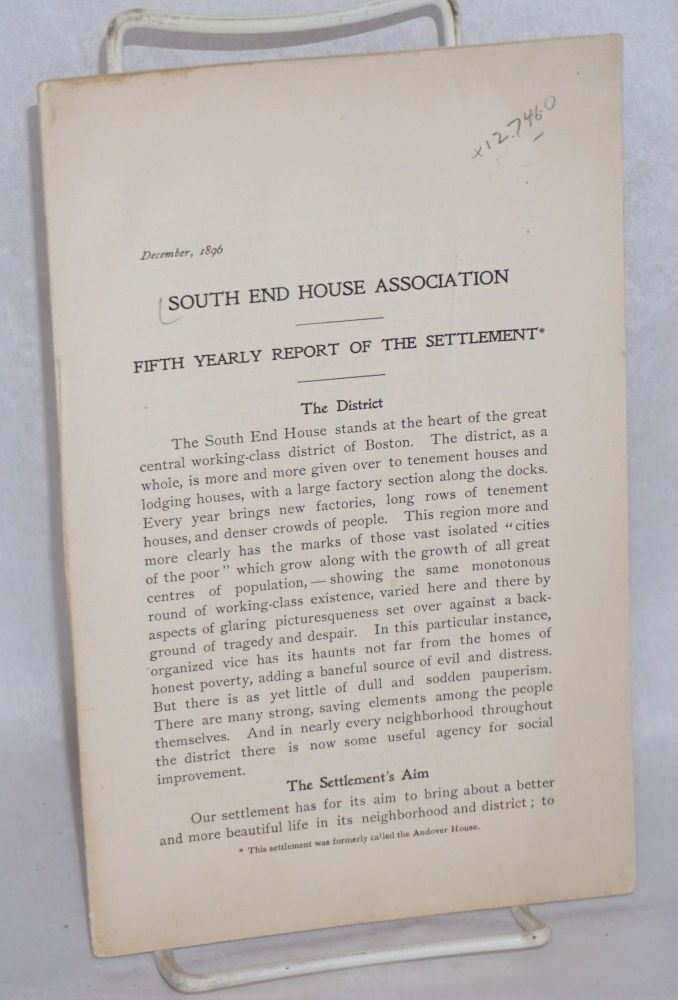 Fifth yearly report of the Settlement. South End House Association.