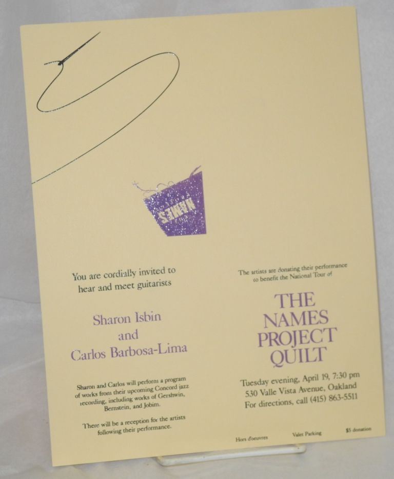 You are cordially invited to hear and meet guitarists Sharon Isbin and Carlos Barbosa-Lima, Tuesday evening, April 19, 7:30 pm ... Oakland. NAMES Project.