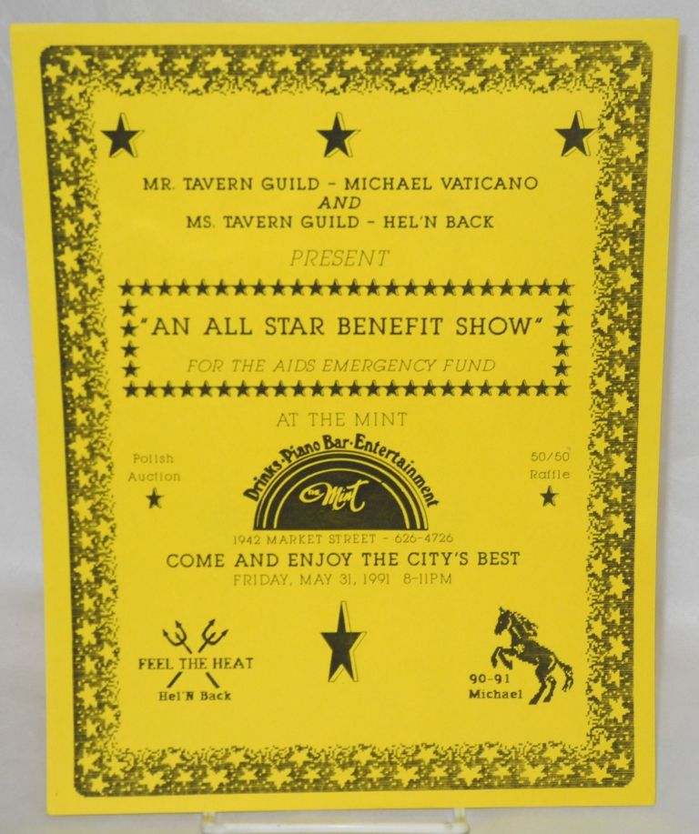 """An all star benefit show"" [handbill] for the AIDS Emergency Fund at the Mint ... May 31, 1991, 8-11 PM"