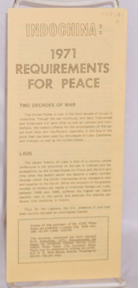 Indochina: 1971 requirements for peace. American Friends Service Committee.
