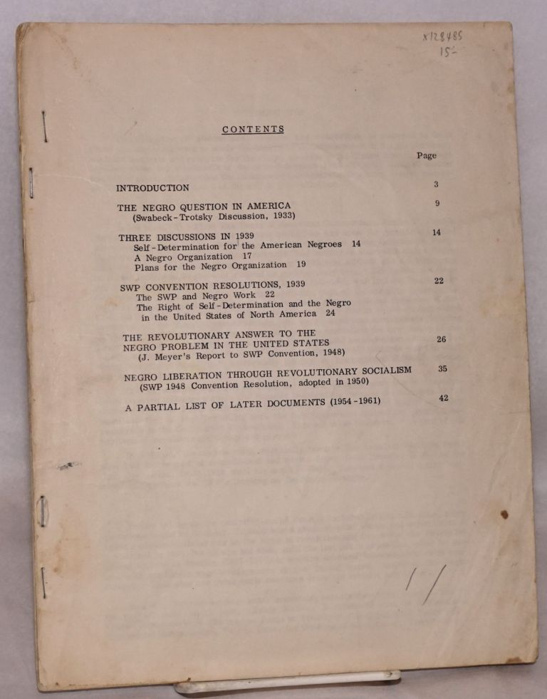 Documents on the Negro struggle. Socialist Workers Party.