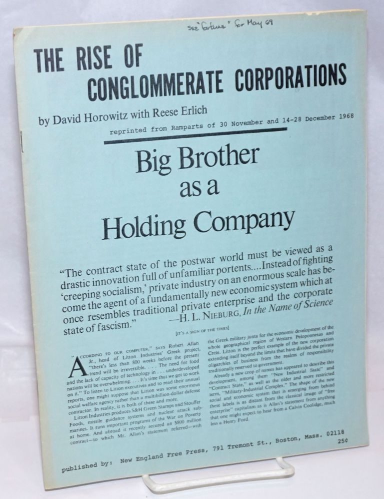 The rise of conglomerate corporations. David Horowitz, Reese Erlich.