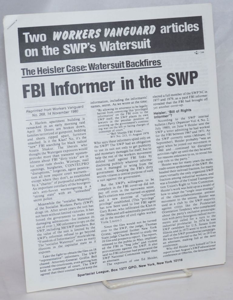 Two Workers Vanguard articles on the SWP's Watersuit. The Heisler Case: Watersuit Backfires. FBI informer in the SWP. (with) SWP reformists rely on the judge. Bell shields FBI finks