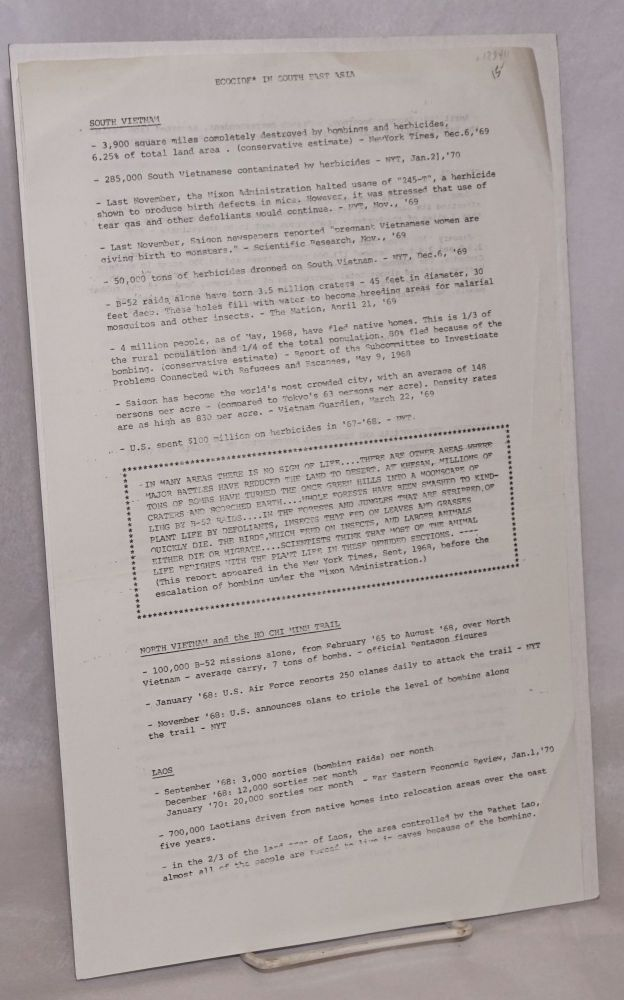 Ecocide in South East Asia; The Vietnamization and Escalation of the Indochinese War. [Two leaflets]. South East Asia Research Collective.
