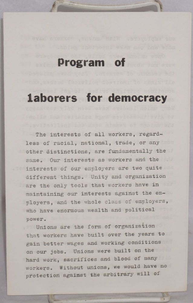 Program of Laborers for Democracy. Laborers for Democracy.