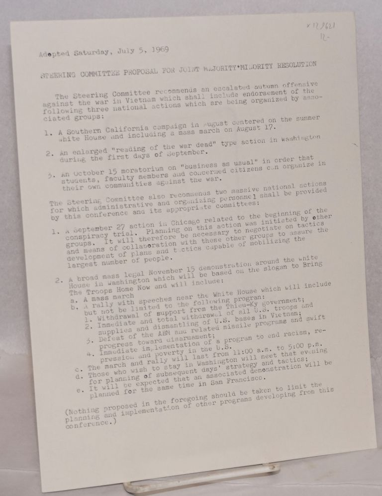 Steering Committee proposal for joint majority-minority resolution, adopted Sunday, July 5, 1969. Cleveland Area Peace Action Council.