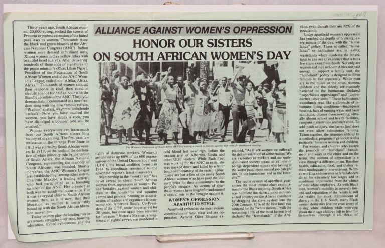 Honor our sisters on South African Women's Day