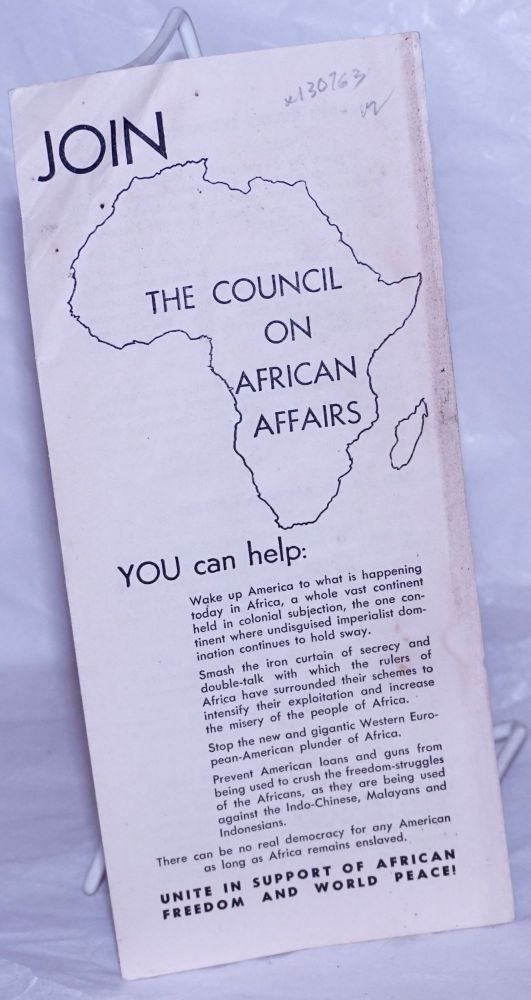 Join the Council on African Affairs. Council on African Affairs.