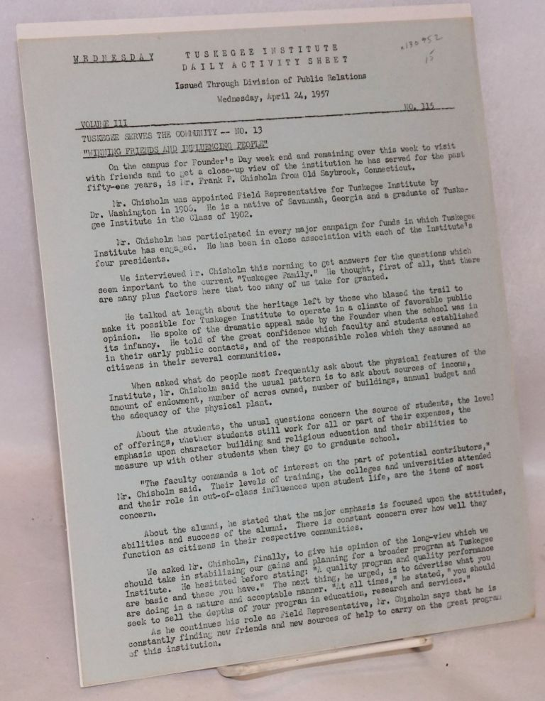 Daily activity sheet, volume III, no. 115, Wednesday, April 24, 1957. Tuskegee Institute.