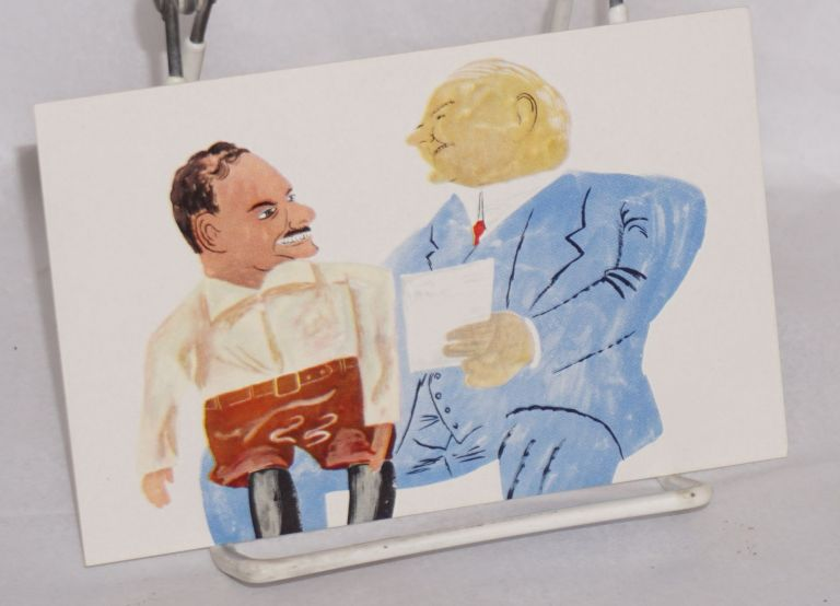 [Postcard depicting plump, white-haired boss with worker on his knee, looking at a document together]