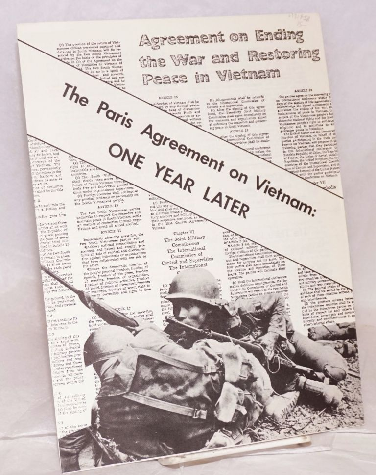 The Paris Agreement on Vietnam: one year later; Indochina Chronicle issue no. 30, January 21, 1974