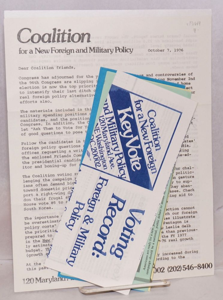 """""""Dear Coalition friends..."""" (letter with four brochures). Coalition for a. New Foreign, Military Policy."""