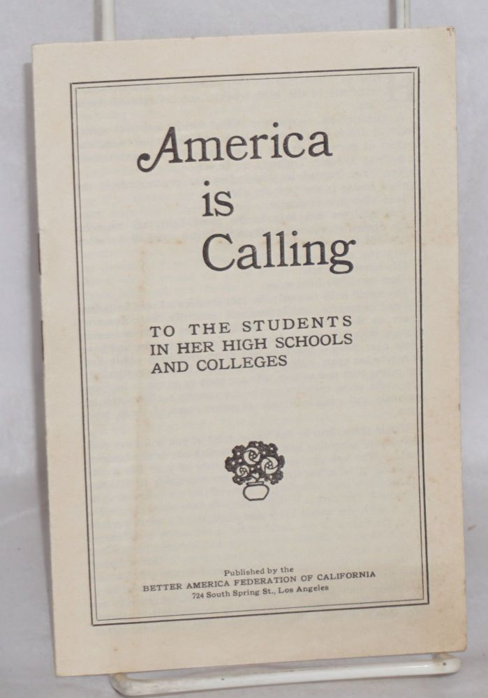 America is calling to the students in her high schools and colleges. Woodworth Clum