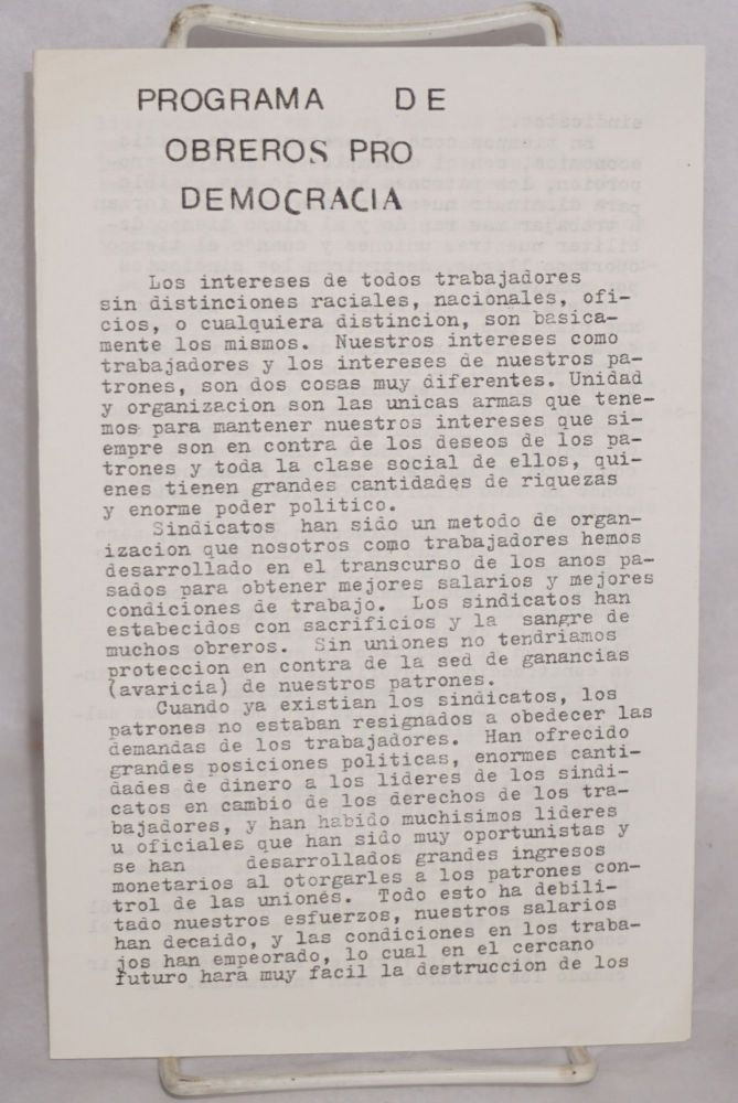 Programa de Obreros pro Democracia. Laborers for Democracy.