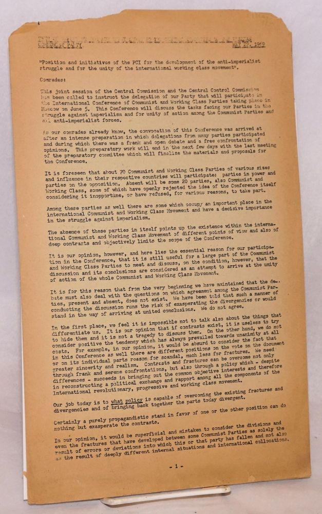 """Text of report by Comrade Luigi Longo to the Central Committee of the Italian Communist Party. May 27, 1969. """"Position and initiatives of the PCI for the development of the anti-imperialist struggle and for the unity of the international working class movement."""" Luigi Longo."""