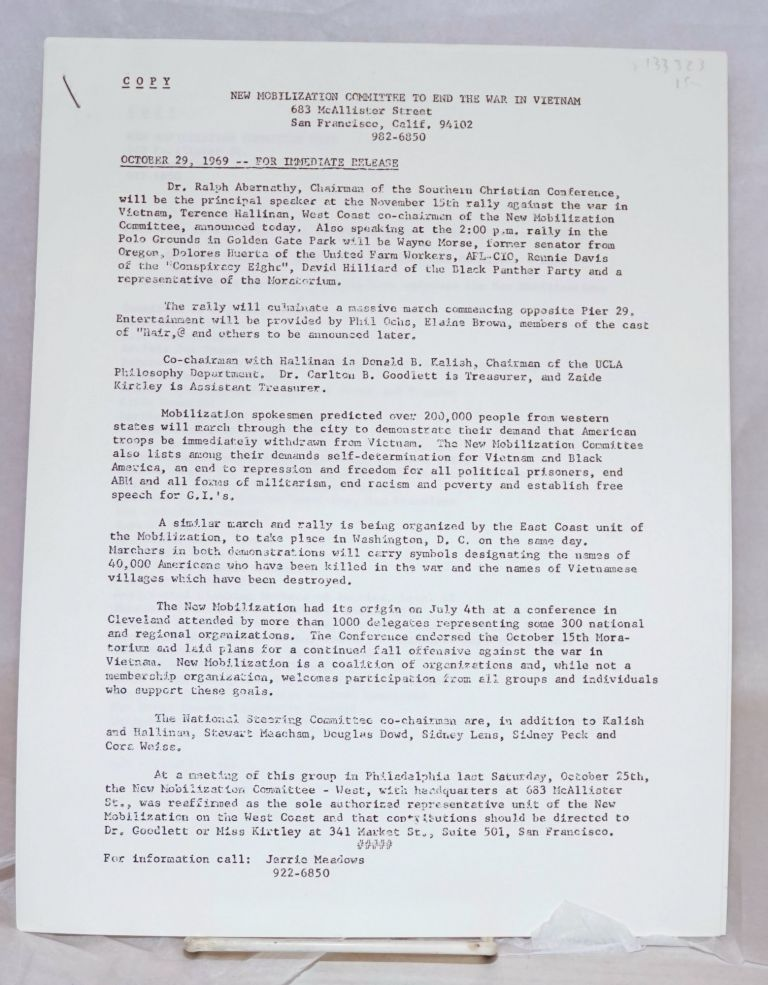 October 29, 1969 - For immediate release. New Mobilization Committee to End the War in Vietnam.