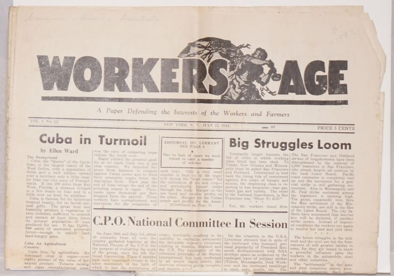 Workers age, published twice monthly. vol. 3, no. 13. August 1, 1934. Communist Party of the USA, Opposition.