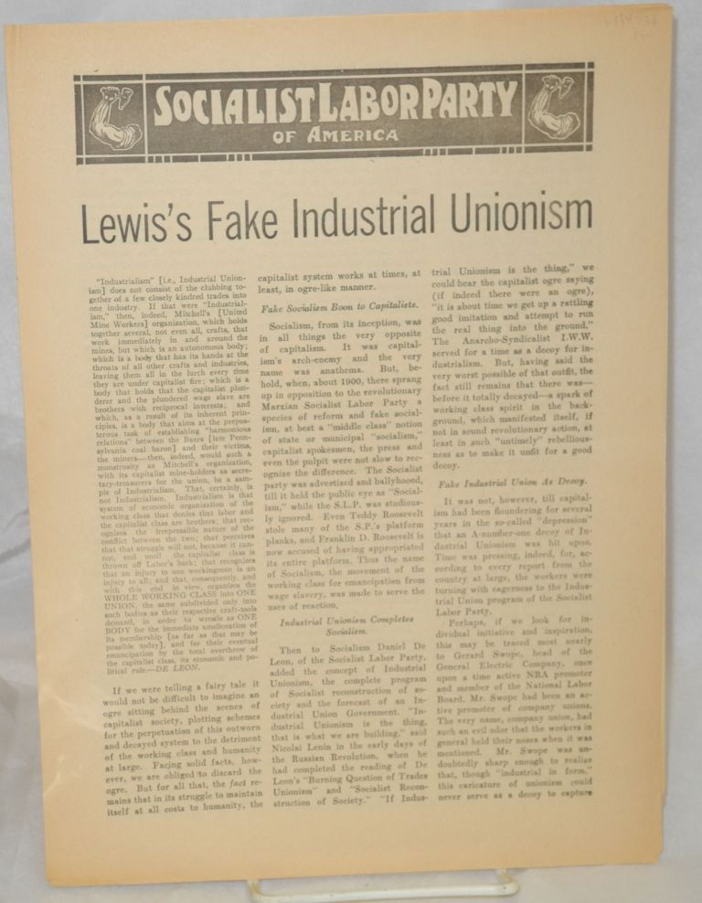 Lewis's fake indistrial unionism. Socialist Labor Party.