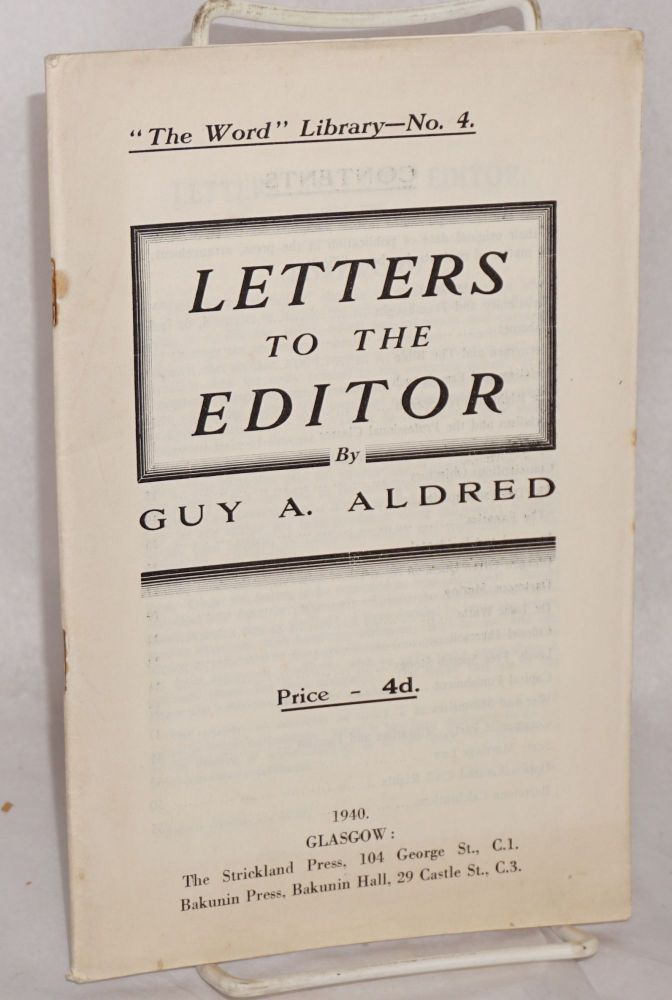 Letters to the editor. Guy A. Aldred.