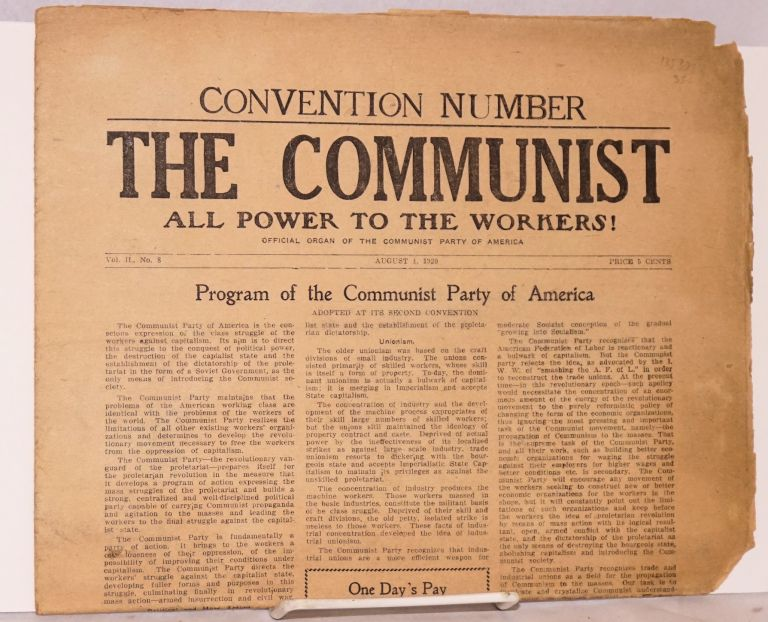 The Communist, official organ of the Communist Party of America. Vol. II, no. 8 (August 1, 1920). Communist Party of America.