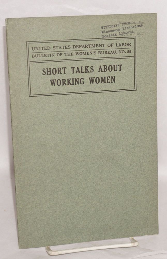 Short talks about working women. Mary Anderson, ed.
