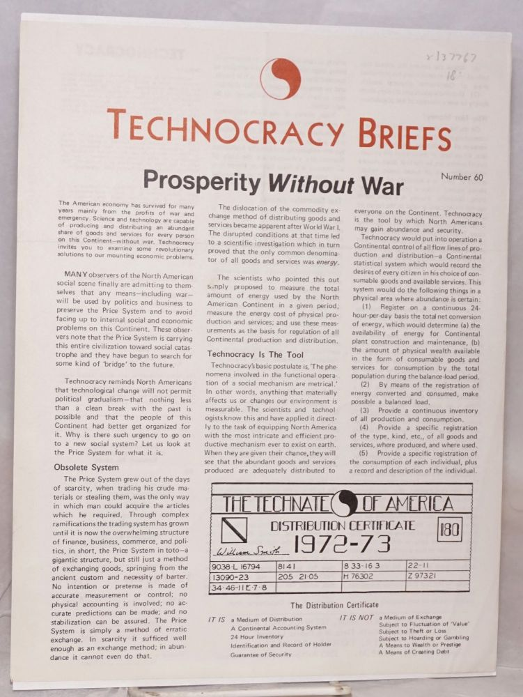 Prosperity without war. (Technocracy brief number 60)