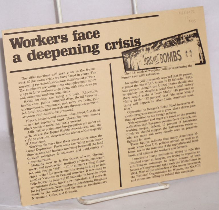 Workers face a deepening crisis. Mel Mason.