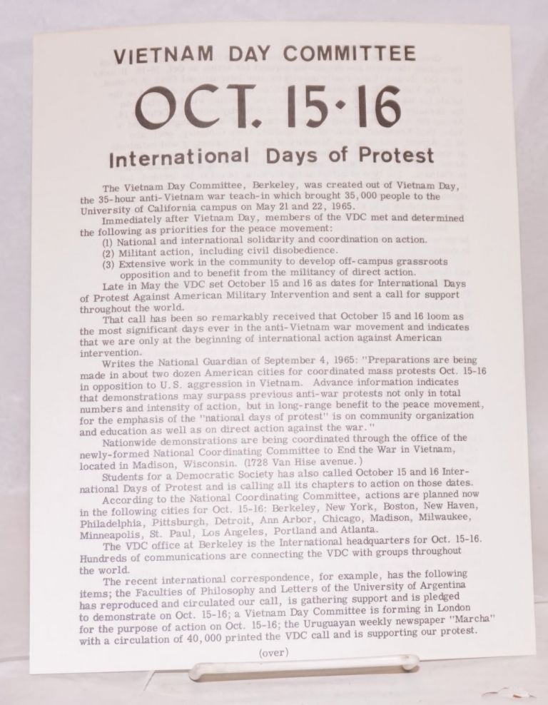Oct. 15-16 International days of protest. Vietnam Day Committee.