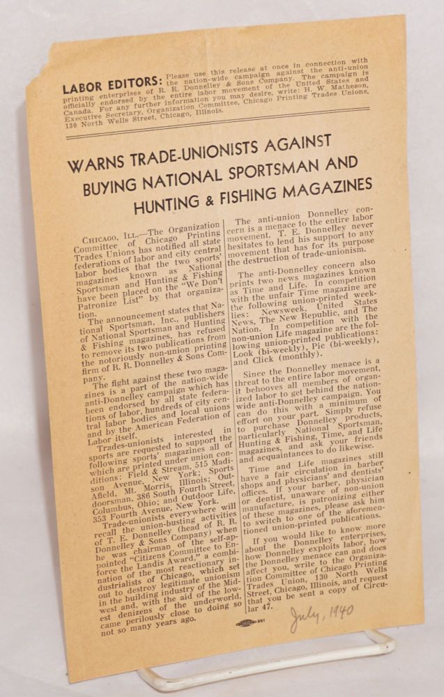 Warns trade-unionists against buying National Sportsman and Hunting & Fishing magazines. Organizational Committee of Chicago Printing Trades Unions.