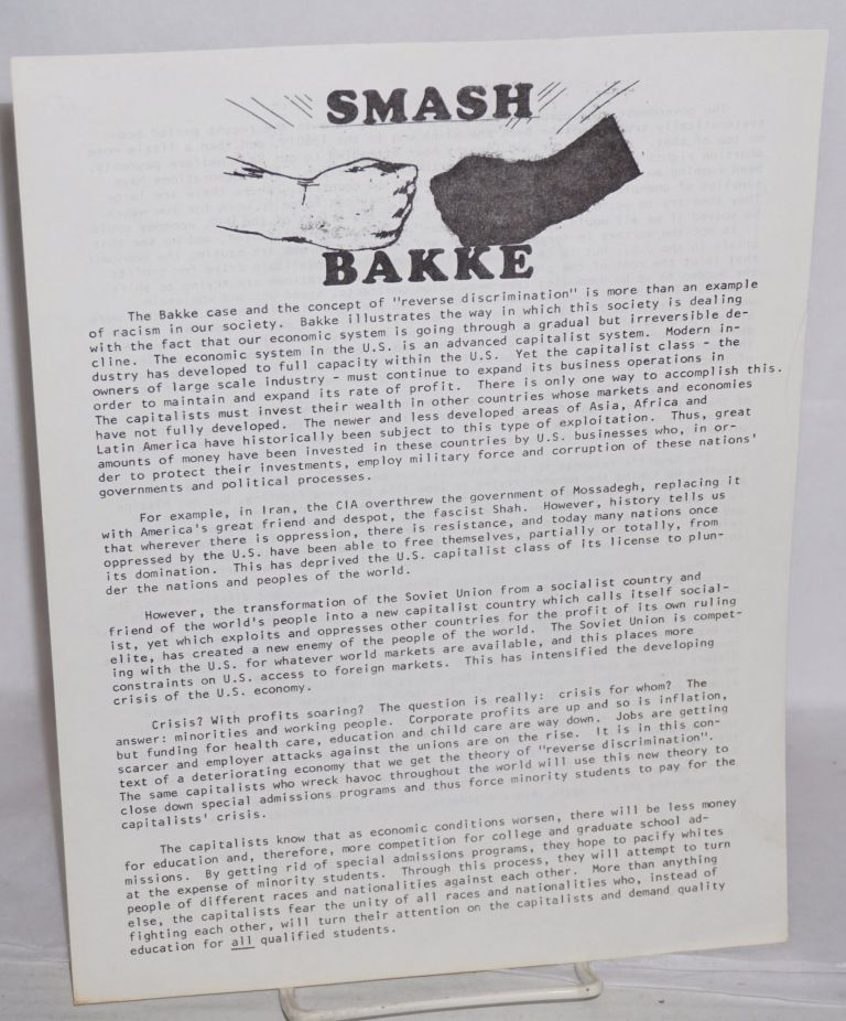 Smash Bakke [handbill]. Fruitvale Law Collective.